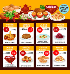 Lunch menu template for danish cuisine vector