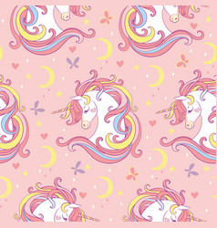 Magic seamless pattern with unicorn moon stars vector