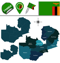 map of zambia with named provinces vector image