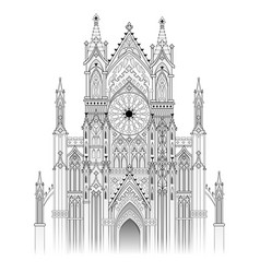 Medieval gothic cathedral with beautiful stained vector