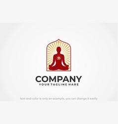 Meditation house logo vector