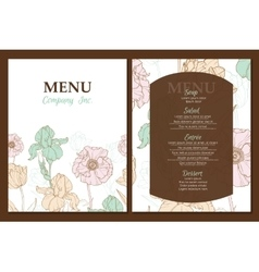 Menu template design with vintage floral vector