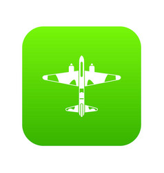 military fighter aircraft icon digital green vector image
