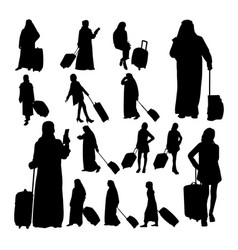 muslim traveler silhouettes vector image