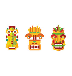 native american indian totems set wooden tribal vector image