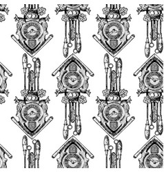 Pattern with old cuckoo clock vector