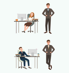 People man and woman office workers sleep at work vector
