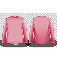 Pink long sleeve t-shirt front and back side vector
