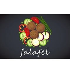 Plate of falafel Top view vector
