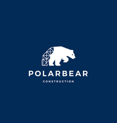 polar bear construction logo icon vector image