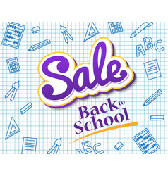 poster sale back to school dynamic banner with vector image