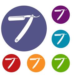 razor blade icons set vector image