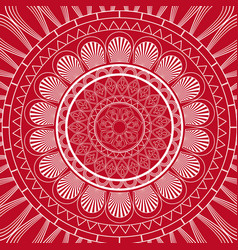 Red mandala ethnic decorative elements indian vector
