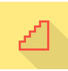 red stairway icon isolated on yellow background vector image