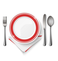 red white plate with spoon knife and fork template vector image