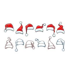 santa hat drawings vector image