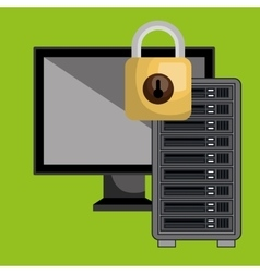 Screen pc server padlock vector