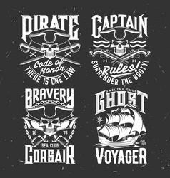 Sea sailing club apparel prints with pirate skulls vector
