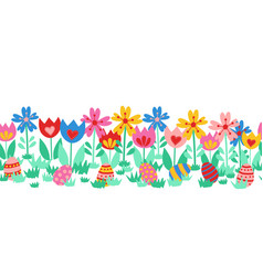 seamless border easter eggs cute hand vector image