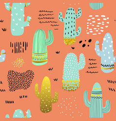 Seamless pattern cactuses childish background vector
