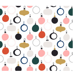 seamless pattern with new year glass balls vector image