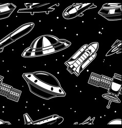 seamless pattern with spaceship spaceman ufo vector image