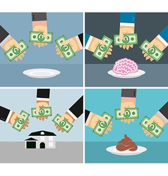 Set money and hands Selling and buying a House vector image