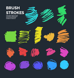 Set of abstract ink brush strokes with vector