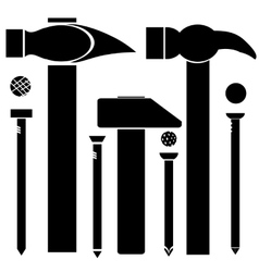 Set of different hammers and nails vector