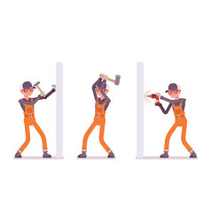 set of male worker in orange overall nailling vector image