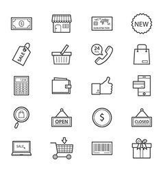 Shopping and Online Shopping Icons Line vector image