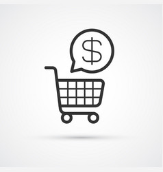 shopping cart flat line trendy black icon eps10 vector image