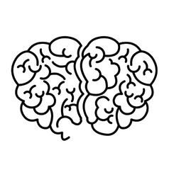 Silhouette brain human top view vector