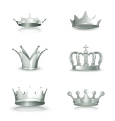 Silver crowns set vector image