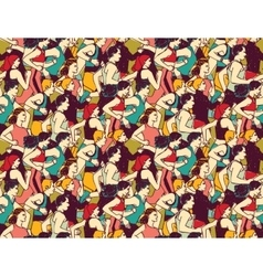 Sport run crowd people marathon seamless pattern vector image