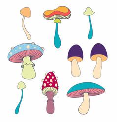 Stylized mushrooms in cartoon style vector