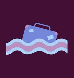 suitcase in the ocean island in the ocean vector image