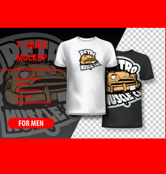 T-shirt mockup with retro muscle car phrase in vector