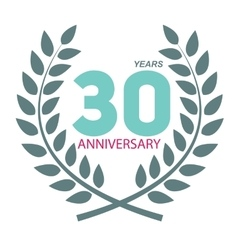 Template Logo 30 Anniversary in Laurel Wreath vector image