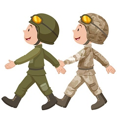 Two soldiers in uniform marching vector