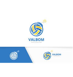 volleyball and bomb logo combination play vector image