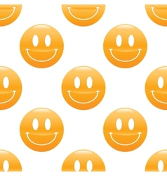 Wide smiling emoticon pattern vector image