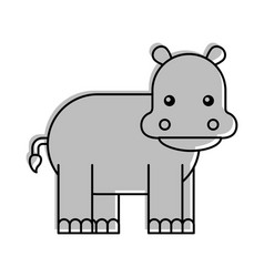 wild hippopotamus isolated icon vector image