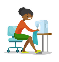 Young african seamstress sewing on sewing machine vector