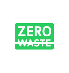 Zero waste green rectangle emblem with crossed out vector