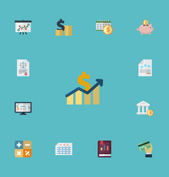 flat icons coins pile tactics paper and other vector image