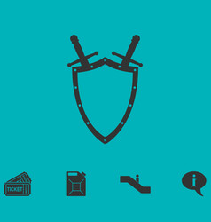 shield and sword icon flat vector image