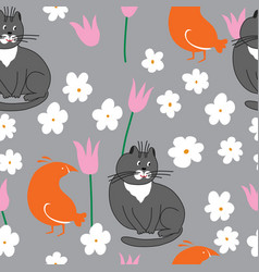 grey cat and orange bird with flowers vector image vector image