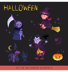 Halloween characters design cartoon vector image vector image