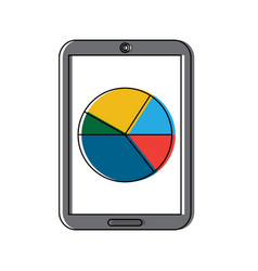 mobile statistic diagram chart device technology vector image